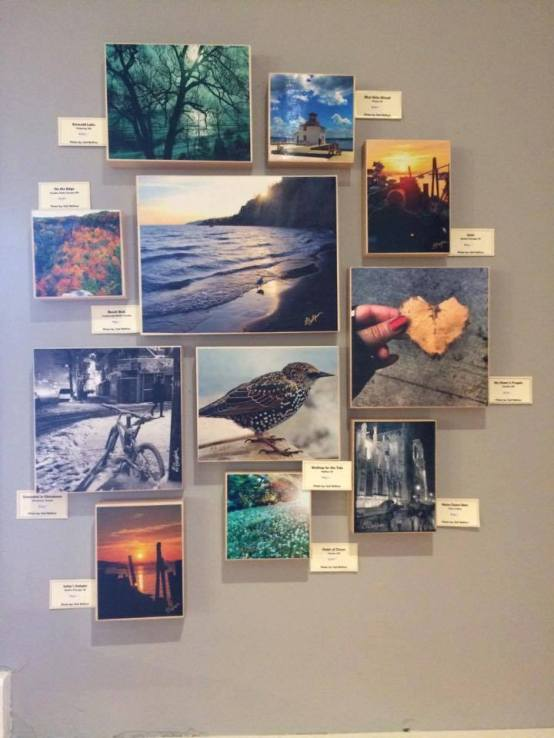 Photos mounted on wooden blocks, ready to hang! This is an image of one of my past exhibits.