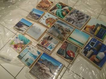 Getting photos ready for a show, mounting and glazing.